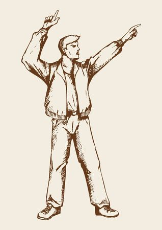 hooray: Sketch of a person doing hands up, pointing fingers