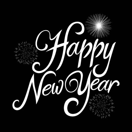happy new year text: Text of Happy New Year with decorative fireworks for New Years theme and background