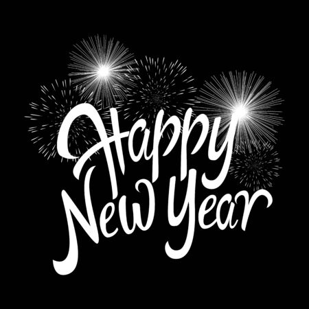 text of happy new year with decorative fireworks for new years theme and background stock vector