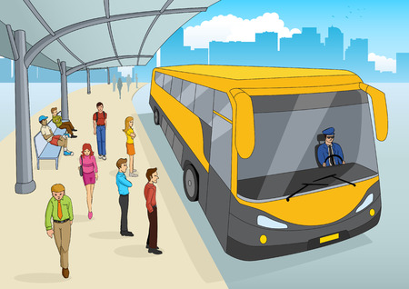 Cartoon illustration of a bus station