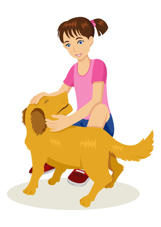 Cartoon illustration of a young girl with her dog