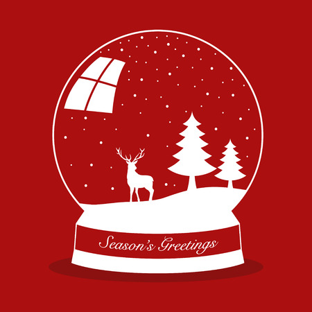 snow crystals: Simple graphic of a snow globe for Christmas theme