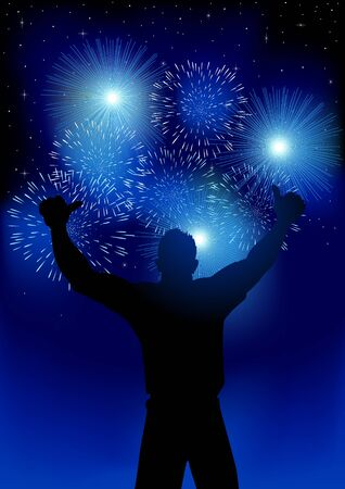 Silhouette of joyful male figure with fireworks background, for new year or celebration theme. Gradient mesh background compatible in Adobe Illustrator CS