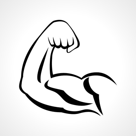 Line art illustration of muscular human right arm, fitness or bodybuilding concept Vettoriali