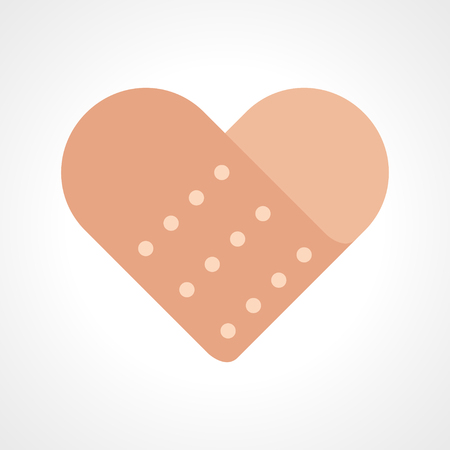 aid: Simple graphic of heart shaped band aid