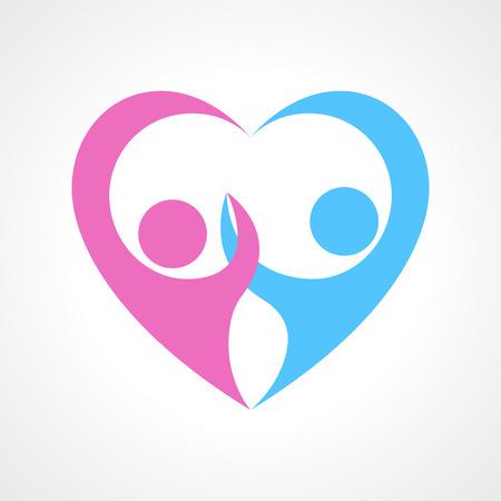 amistad: Dos figura pictograma símbolo del corazón humano que forma parte la celebración de