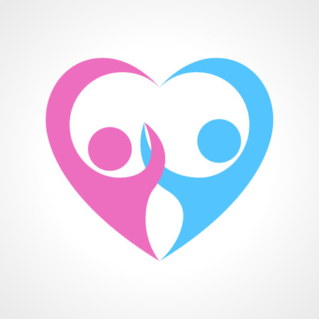 Two human figure pictogram holding hand forming heart symbol