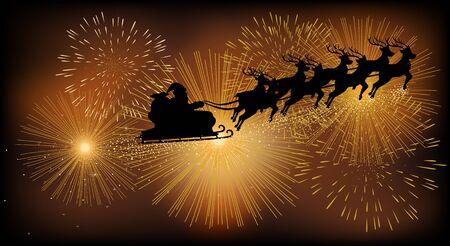 cs: Christmas background or theme, Santa Claus flying with his sleigh against fireworks. Using gradient mesh, compatible in Adobe Illustrator CS Illustration