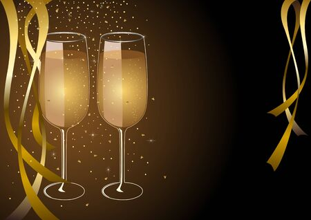 toast: Two glasses of champagne for New year celebration or wedding concept theme