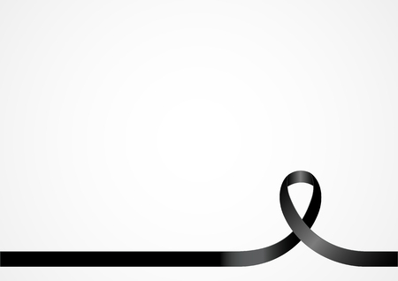 Black ribbon, background template with copy space for cover, page or advertisement design lay out Illustration