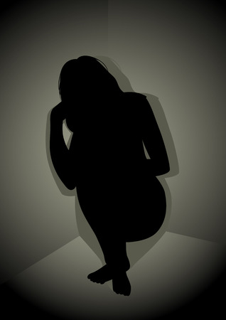 Silhouette illustration of frustrated woman in the corner
