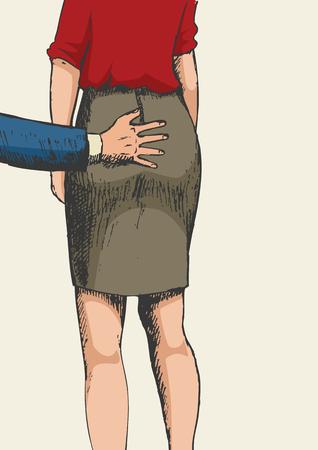 feminino: esboço ilustração de uma mão masculina que agarra um bumbum feminino, o conceito de assédio sexual Ilustração