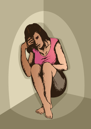 rape: Sketch of frustrated woman in the corner