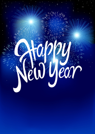 cs: Text of Happy New Year with fireworks background, for new year theme. Gradient mesh background compatible in Adobe Illustrator CS