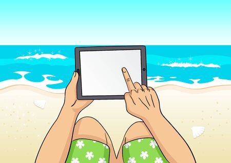 short trip: Cartoon illustration of a man using computer tablet on the beach