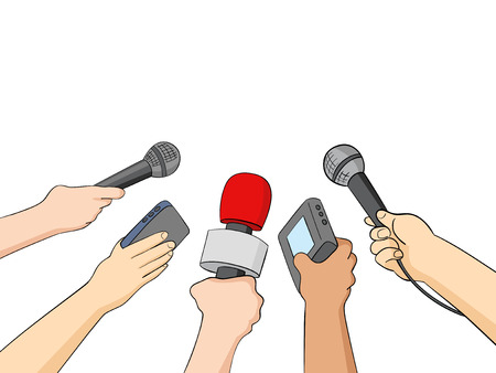 communication cartoon: Cartoon illustration of hands holding microphones and recorders, journalism or press symbol
