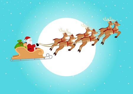 trineo: Ilustración de dibujos animados de Santa en trineo y sus renos volando contra la luna llena