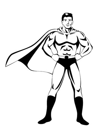brawny: Stock vector of a superhero posing in black and white illustration