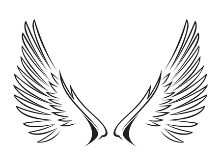 Line art illustration of wings