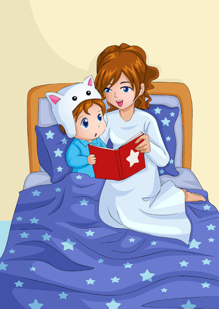 Cartoon illustration of a mother storytelling for her child before sleep