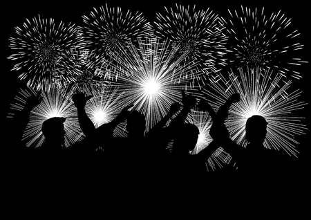 Silhouette of joyful people watching fireworks in black and white illustration