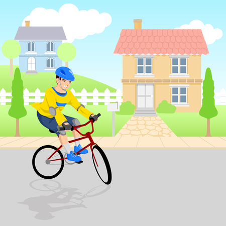 bicycle gear: Cartoon illustration of a boy riding bicycle at neighborhood