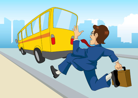running late: Cartoon illustration of a businessman chasing the bus
