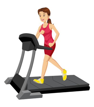 out of body: Cartoon illustration of a woman on a treadmill Illustration