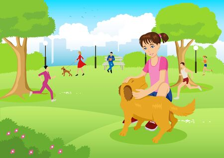 jogging: Cartoon illustration of a girl with her dog in the city park