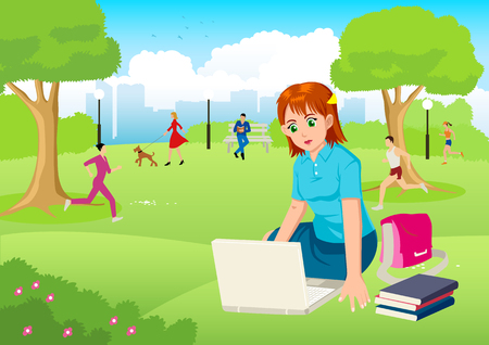 lap top: Cartoon illustration of a girl working with lap top in the city park Illustration