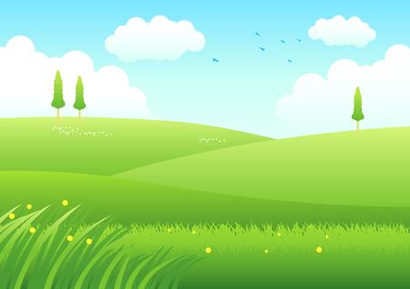 Cartoon illustration of meadows