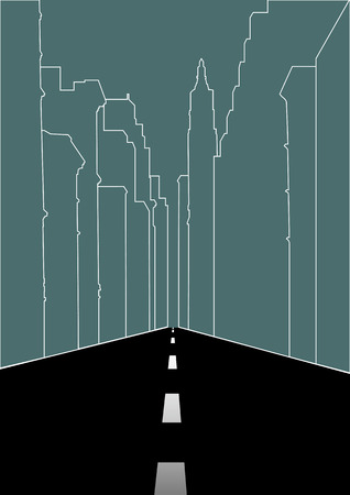 city street: Line art illustration of an empty city street Illustration