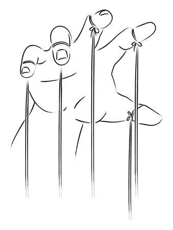 꼭두각시 마스터 손의 라인 아트 그림. 제어, 전력, 노예, 지배, 개념