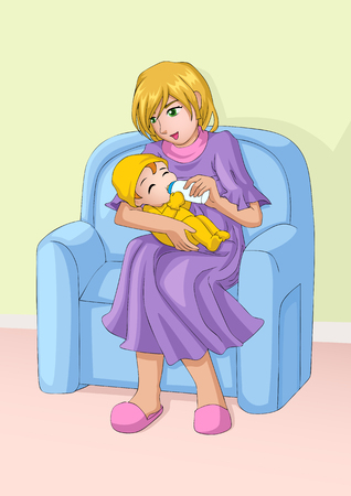 sitter: Cartoon illustration of a mother holds bottle of milk for her baby. Caring, love, nurture theme Illustration