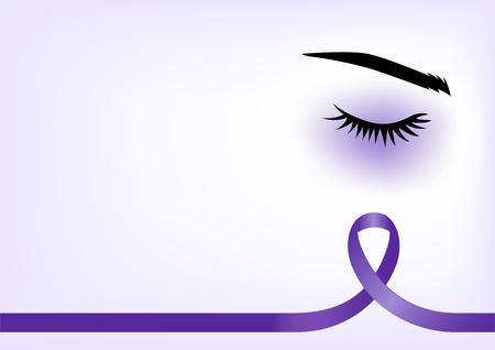 Lila Band mit blauen Augen, häusliche Gewalt-Konzept, Hintergrund-Vorlage mit Kopie Platz für Abdeckung, Seite oder Werbung Design Layout Illustration