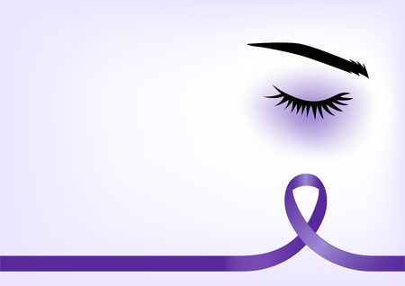 Purple ribbon with blue eye, domestic violence concept, background template with copy space for cover, page or advertisement design lay out