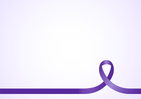 animal abuse: Purple ribbon, background template with copy space for cover, page or advertisement design lay out