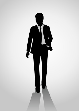 Silhouette of a businessman in a suit walking