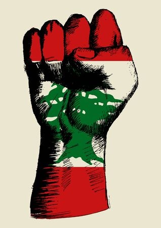 insignia: Sketch illustration of a fist with Lebanon insignia Illustration
