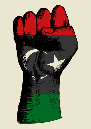 revolt: Sketch illustration of a fist with Libya insignia