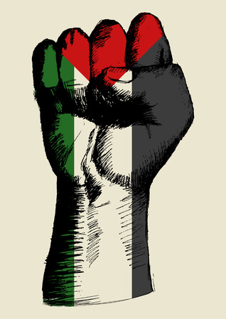 palestine: Sketch illustration of a fist with Palestine insignia