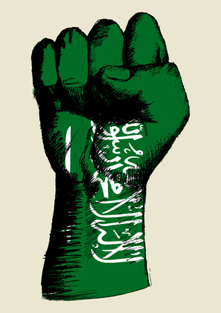 revolt: Sketch illustration of a fist with Saudi Arabia insignia