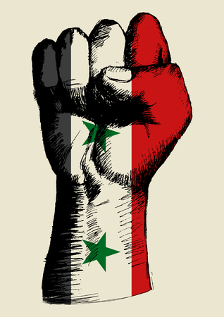 revolt: Sketch illustration of a fist with Syria insignia