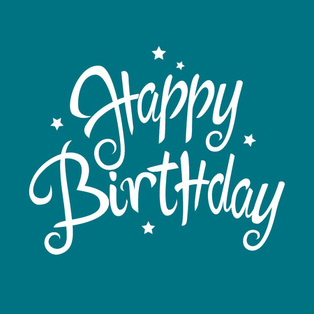 scripts: Text of Happy Birthday with decorative simple stars for birthday theme and background Illustration