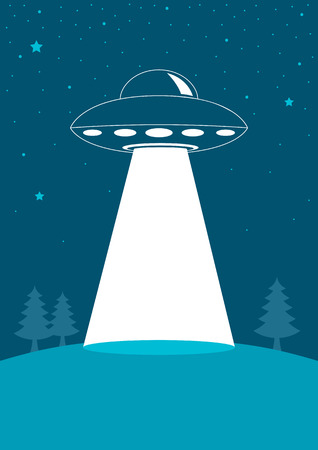abducted: Simple graphic of unidentified flying object, UFO Illustration