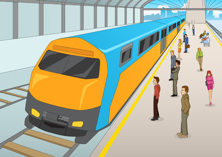 rapid: Cartoon illustration of people waiting at the train station. Mass Rapid Transport, transportation, urban theme