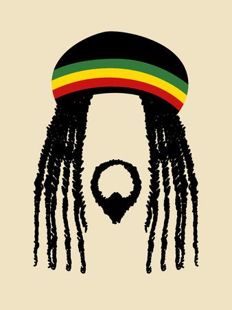 ドレッドヘアの髪型を持つ男の顔記号です。ラスター、ラスタファリアン、ジャマイカ、レゲエをテーマ  イラスト・ベクター素材