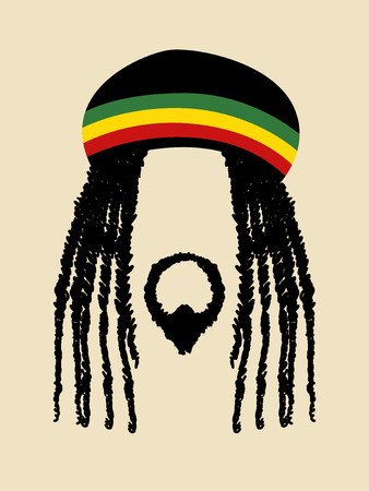 dreadlocks: Símbolo de la cara de un hombre con dreadlocks peinado. Rasta, rastafari, jamaica, tema del reggae Vectores