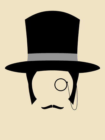 monocle: Gentleman wearing vintage hat with a monocle and mustache Illustration