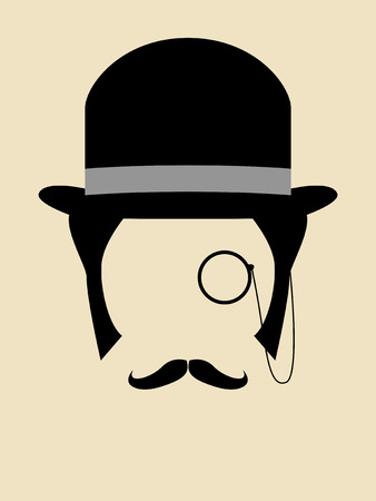 bowler hat: Gentleman wearing bowler hat with a monocle and mustache